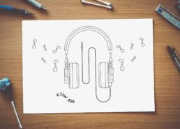 headphones coloring sheet design